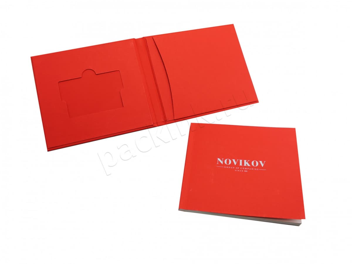 Кашированный кардпак для пластиковой карты с карманом для буклета